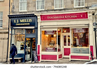 Local stores in Stockbridge Edinburgh, famous cheesemonger. Stockbridge Edinburgh UK. January 2018