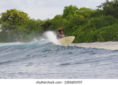 Local surfer rides a wave at Inside Mikados break, Thaa Atoll, Maldives, Indian Ocean, Asia