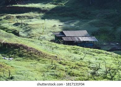 Local Thai style of house construction  made by wood in the area of Sangklaburi Thailand, Kanchanaburi