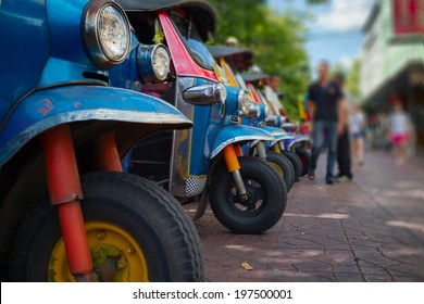 Local Thailand's vehicles Tuk Tuk parked in the row on the street of Bangkok