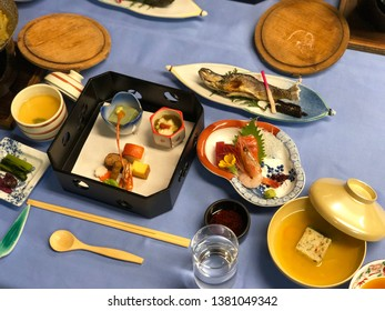 Local traditional Japanese dinner set know as Kaiseki are prepare for guest at Ryokan ( Japanese style hotel ).