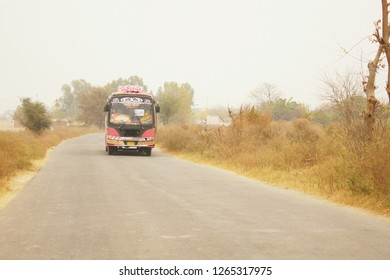 Local Transpor Bus for travelling Captured in Uchali,Punjab,Pakistan...Dated 7-Dec-2018