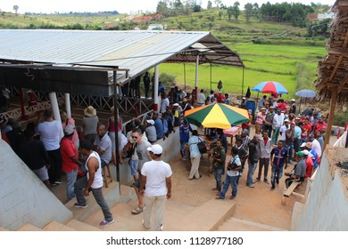 Locals and tourists gathered to watch a cockfight at Madagascar, on March 13th, 2016