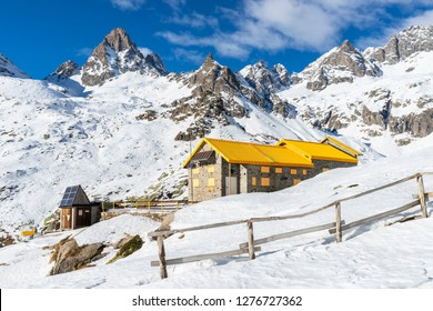 "Locana, Piedmont, Italy - January 6, 2019: ""Rifugio Pontese"" is a cozy mountain hut located in the deep valley of Piantonetto, on the Piedmontese side of Gran Paradiso National Park."