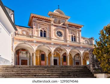 Locarno, Switzerland 8/03/2018: View of the Madonna del Sasso church and Lake Maggiore,  Locarno