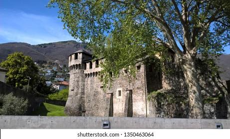 Locarno, Switzerland - April 24, 2016: Visconteo Castle is a castle in Locarno, Switzerland. It is a Swiss heritage site of national significance