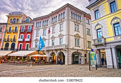 Locarno, Switzerland - August 25, 2013: Piazza Grande in the city center of luxurious resort Locarno of Ticino canton, Switzerland. People on the background.