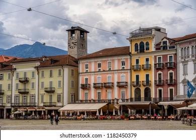 Locarno, Switzerland - June 24, 2018: Locarno, Ticino, Switzerland: the main square of the city known as Piazza Grande