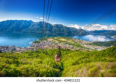 LOCARNO, SWITZERLAND - May 15, 2016 - View to Locarno city from Cardada mountain, Swiss Alps, Switzerland