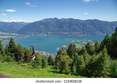 LOCARNO, SWITZERLAND - May 15, 2018  - View to Locarno city from Cardada mountain, Swiss Alps, Switzerland