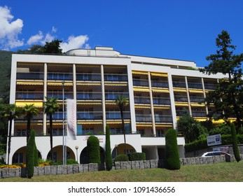 LOCARNO, SWITZERLAND on July 2017: Modern building in european city with clear blue sky in warm sunny summer day.