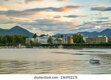 Locarno, Switzerland - September 1, 2018: Hotels near Lago Maggiore in Locarno, Switzerland during summer 2018