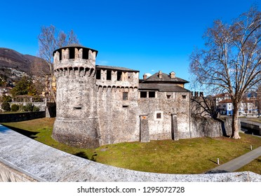 Locarno, Switzerland,08/03/2018,  Castello Visconteo is a famous castle in Locarno. It is a Swiss heritage site of national significance.