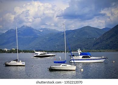 Locarno, Switzerland-June 18, 2014: Boats on Lake Maggiore, Switzerland.