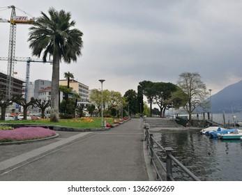 Locarno, Tessin, Switzerland, April 2019, street view
