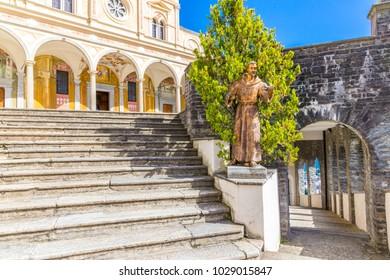 Locarno, Ticino, Switzerland, 05 September 2017. View of facade Madonna del Sasso Church,  in Locarno city on Lake Maggiore, in Ticino district, Switzerland.