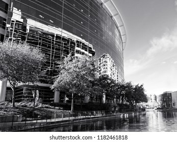 Location - Date  -  Building Reflexion Along The Waterway The Woodlands TX in B&W