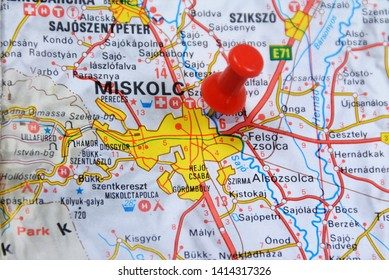 Location on the map of Miskolc city in Hungary