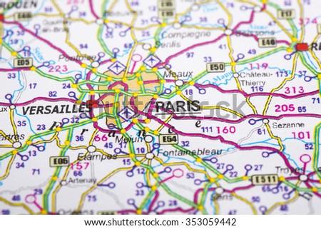 Location Paris On Map Stock Photo Edit Now 353059442 Shutterstock