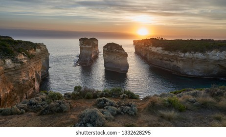 Loch Ard Gorge, a landmark on the Great Ocean Road, Victoria, Australia caught in the glow of the setting sun.