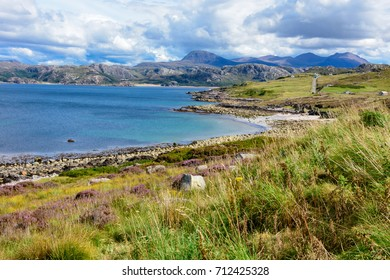 Loch Ewe and Isle of Ewe in Wester Ross, on the west coast of Scotland and the Atlantic Ocean