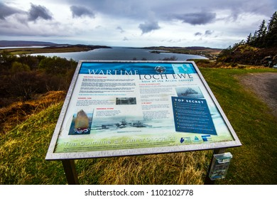 Loch Ewe, Wester Ross, Scotland - April 22nd 2018: Top secret location of Arctic Convoys to Russia during World War II. These merchant convoys protected by naval forces were attacked by Nazi U-boats.