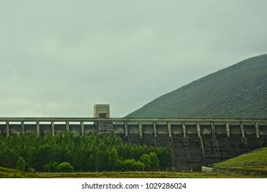 Loch Glascarnoch Dam, in the Highlands of Scotland.