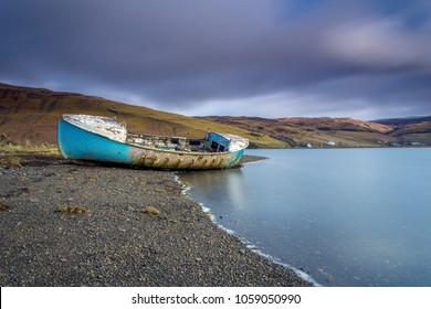 Loch Harport sunken boat, Isle of Skye in Scotland