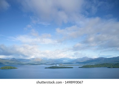 Loch Lomond aerial birdseye view from above showing islands in the Highlands Scotland UK