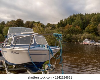 Loch Lomond, Scotland -  September 28 2018: boats moored at the lake
