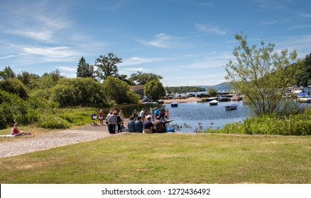 Loch Lomond, Scotland-05thJuly 2018: Holiday spot for relaxing, picnicking and resting   A lakeside relaxing  place for tourists/friends/and travelers where small boats and yachts dock.