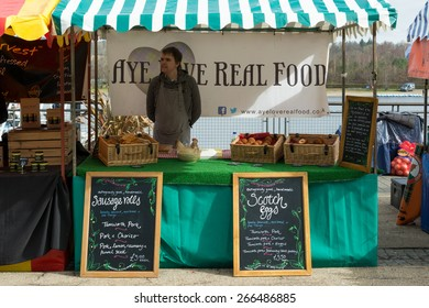 LOCH LOMOND SHORES, BALLOCH, SCOTLAND, UK - 4 APRIL 2015: 'Aye love real food' Market Stall at food and drink festival, celebrating Scotland's Year of Food and Drink 2015