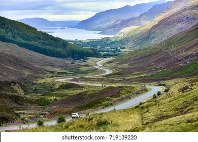 Loch Maree, valley, and winding road in the Highlands of Scotland leading to the Atlantic Coast and Gairloch