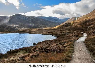 Loch Muick in Cairngorms National Park. Aberdeenshire, Angus, Scotland,UK. Royal Deeside near Ballater and Braemar