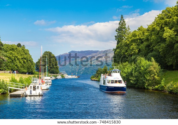 LOCH NESS, SCOTLAND - JUNE 27, 2016: Fort Augustus and Loch Ness lake in Scotland in a beautiful summer day, United Kingdom on June 27, 2016