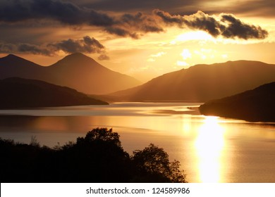 Loch Tay at Sunset. Near Aberfeldy, Perthshire, Scotland.