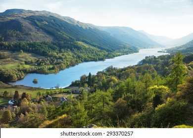 Loch Voil in spring evening. The village of Balquhidder lies near the head of Loch Voil, Perthshire,  Scotland, UK.