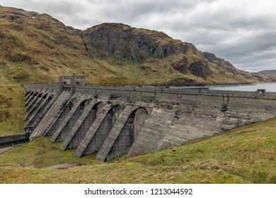 Lochan reservoir and dam in Scottish Trossachs near Loch Tay and Ben Lawers