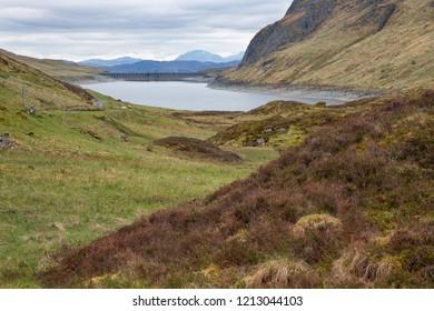 Lochan reservoir in Scottish Trossachs near Loch Tay and Ben Lawers