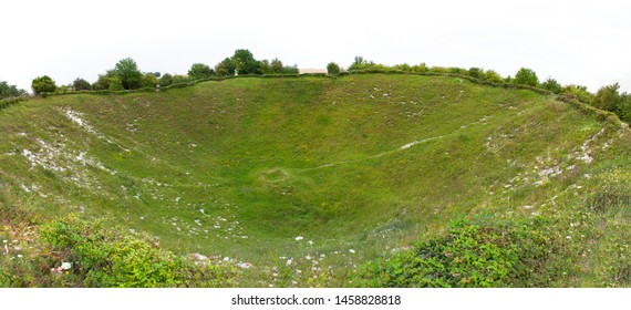 Lochnagar Mine crater, Somme, France. Crater caused by mine explosion underground during Word War One.