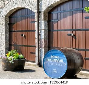 LOCHNAGAR, SCOTLAND - MAY 26: Barrel of whiskey in front of Roayal Lochnagar distillery on May 26, 2018 in Lochnagar