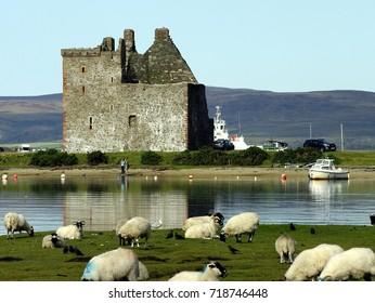 Lochranza Castle on the Isle of Arran, Scotland.