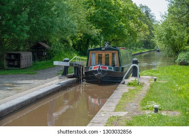 Lock with an approaching narrowboat on the LLangollen Canal in Shropshire, UK