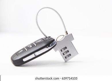 Lock and car key. Carjacking