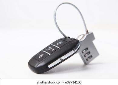 Lock and car key. Car safety
