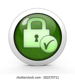 Lock circular icon on white background