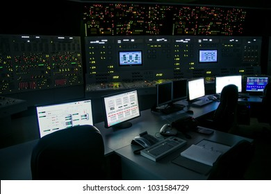 lock control panel of nuclear power plant operates on a backup power supply during an accident simulation.