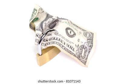 Lock with dollar bill on a white background