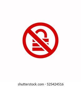 lock forbidden sign icon, on white background