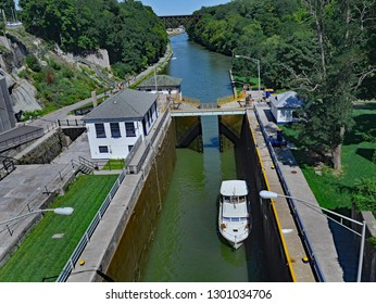 lock gate with boat on the Erie Canal near Lockport, New York